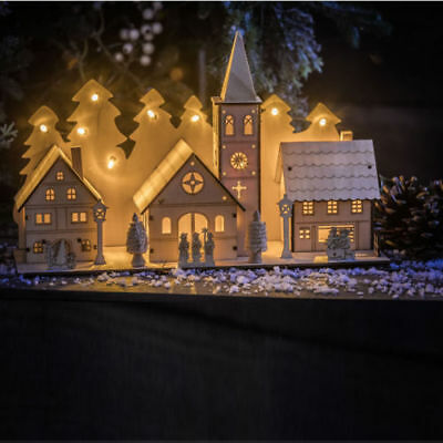 Large Christmas Wooden Church Village Scene Pre-Lit LED Xmas Decoration House