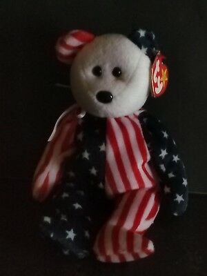 Ty Beanie Baby Spangle - MWMT (Bear White Head 1999) Patriotic