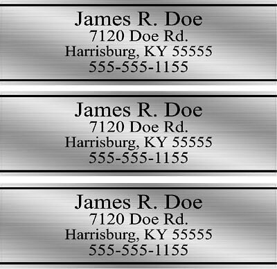 Custom Silver Grey Club Shaft Labels With Your Name, Address & Phone Number