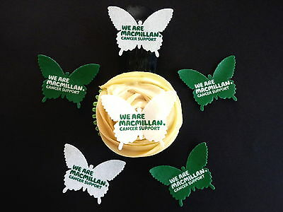 15 Pre-Cut Macmillan Cancer Butterfly Mix Edible Cake Rice Wafer Paper Toppers