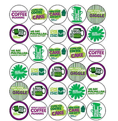 30 Pre-Cut Macmillan Cancer (2) Mixed Cup Cake Edible Rice Wafer Paper Toppers