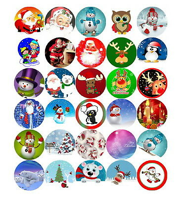 30 Pre-Cut Mixed Father Christmas 2 Xmas Cup Cake Edible Rice Wafer Paper Topper