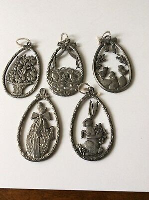Lot Of 5 Pewter Easter Ornaments, Rabbit, Chicks, Eggs, Flowers, Large Egg