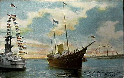 HM Her Majesty the Queen arriving in Portsmouth Harbour c1910 UK postcard