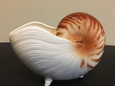 Fitz & Floyd COQUILLE Nautilus Shell Vase Peach/Brown