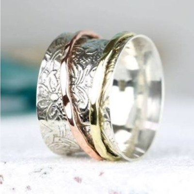 Solid 925 Sterling Silver Spinner Ring Meditation ring statement ring Size 0018.