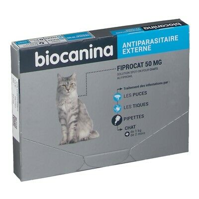 Biocanina Fiprocat 50Mg Antiparasitaire Externe Puces & Tiques Boite 3 Pipettes