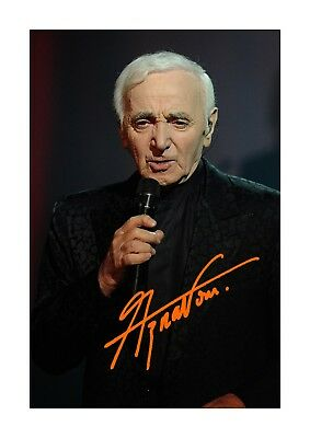 Charles Aznavour (2) A4 signed photograph poster. Choice of frame.