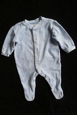 Baby clothes BOY 0-3m blue soft velour white bears babygrow used once SEE SHOP!