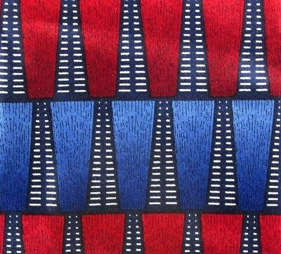 COCKTAIL COLORS Men's Neck Tie Red Blue Geometric Hand Made 100% Silk  #T100