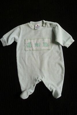 Baby clothes UNISEX BOY GIRL 0-3m green-aqua velour 3 dogs babygrow SEE SHOP