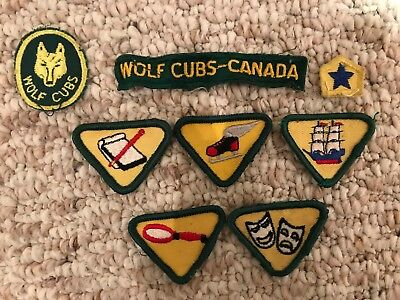 Vintage lot of 8 different BOY SCOUTS WOLF CUBS Patches and Merit Badges CANADA