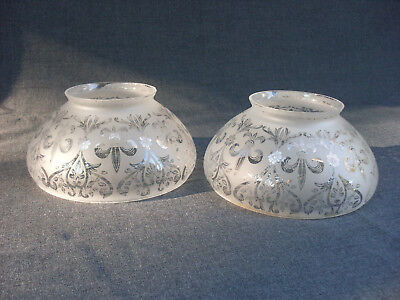Pair of Antique Gas Light Etched Glass Lampshades