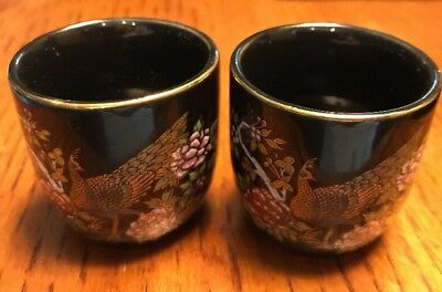 2 Piece Sake Saki Set - 2 Cups Black With Gold Peacock And Trim