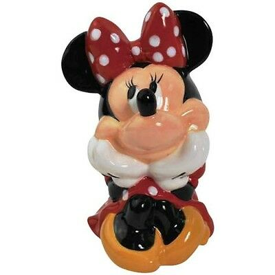 "Disney Mickey S Minnie Mouse Ceramic Money Bank 5 1/2"" Tall Wg Ae"