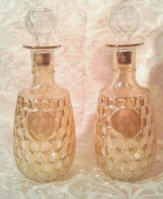 Vintage Gold Wine Bottles Set of 2 w/Toppers 10.75""