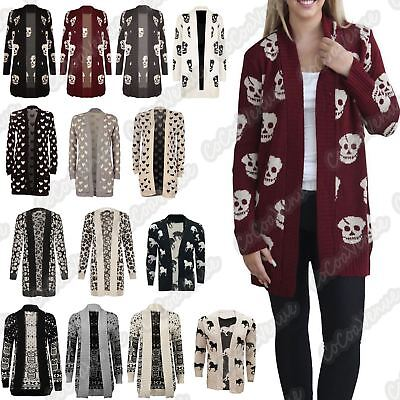 New Ladies Heart Horse Skull Knitted Open Front Sweater Boyfriend Long Cardigan