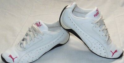 Big Girls White & Pink PUMA Sport Lifestyle Bling Sneakers Shoes Sz 5.5 Y