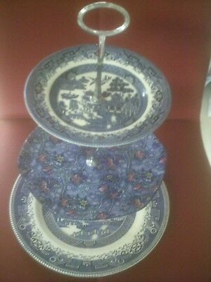 vintage mix/ match 3 tier cake stand willow pattern+ english scenery +ringtons