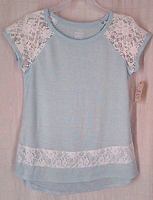 Faded Glory Girls Size Large 10-12 Top Blue & White Lace Shirt