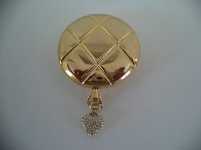 SALE!  Estee Lauder GOLDEN POWDER COMPACT WITH CRYSTAL HEART CHARM