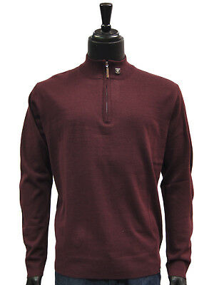 Stacy Adams Plum Lightweight Mens Half Zip Mock Neck Pullover Sweater