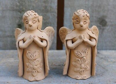Pair of Sweet Winged Angel Candle Holders Hand Made Atzompa Mexico Clay Folk Art