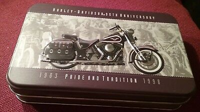 Harley Davidson 95th anniversary tin with playing cards