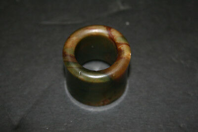 Old Vintage Carved Jade Archers Thumb Ring Dark Green & Brown Coloring