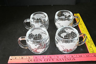 4 - THE NESTLE CO.  World Globe etched glass Cocoa, Coffee, Mugs, Cups