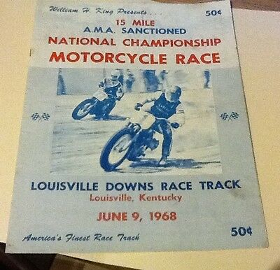 1968 15 Mile National Championship Motorcycle Race Program Louisville Ky