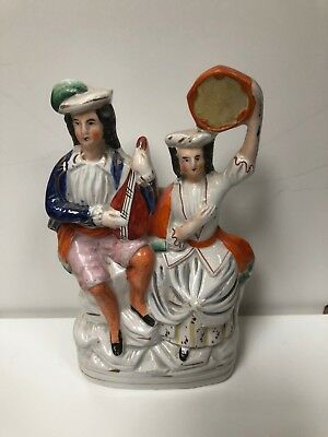 19th Century Staffordshire Pottery Figure With Mandolin & Tambourine