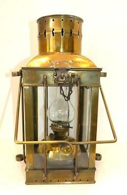 "Large Vintage Square Brass Ship's Lantern Light With Burner - 14 5/8"" Tall"