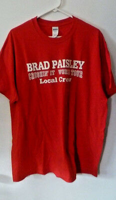 New BRAD PAISLEY local CREW t-shirt XL RED official concert Cruisin'It Tour 2016