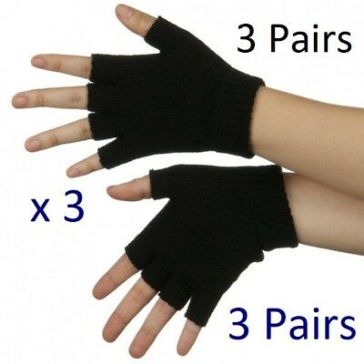 Mens Womens Unisex Fingerless Black magic gloves