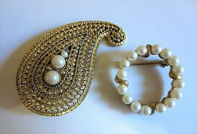 Lot of Two Vintage Adorable Paisley & Cute Circle Faux Pearl Gold Tone Brooches