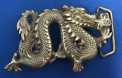 Japanese Dragon Belt Buckle Baron Solid Brass 1981 Rare