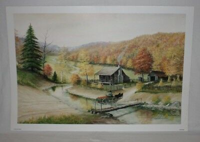 Golden Harvest Kentucky Artist Fred Thrasher Log Cabin Pumpkins Horse Wagon AP