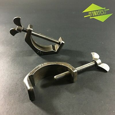 """Pair Unusual Vintage Half-Round Section Pipe? Clamps 2.25"""" Mechanic Old Tools"""