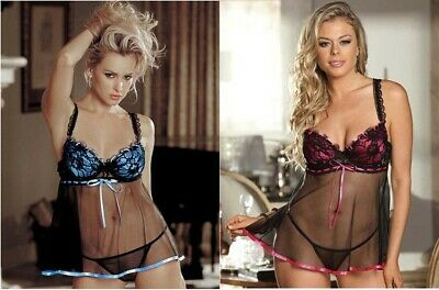 Babydoll Sexy Tulle Nero Coppe In Pizzo Rosso o Blu Lingerie  Intimo Hot Chemise
