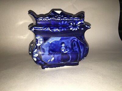 Historical Staffordshire Dark Blue Water Girl Pattern Sugar Bowl Ca. 1825
