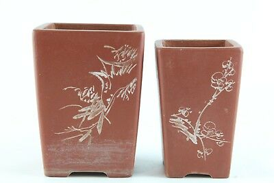 Lot Of Two Old Chinese Yixing Zisha Planters