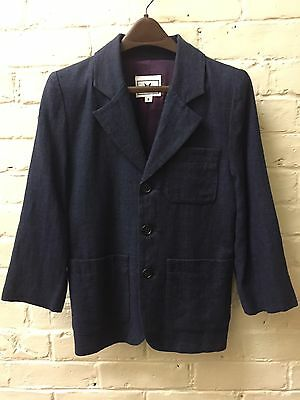Vtg Boy 8 All Linen Blue Blazer Jacket Monkey Wear Navy Dressy Boutique EC