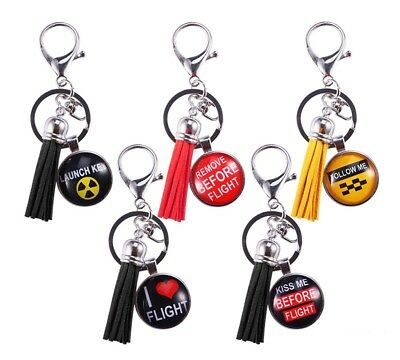 Pilot Remove Before Flight Airplane Metal Tassel Charm Backpack Keychain Keyring