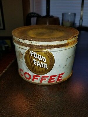 Vintage Antique Collectible 1940's 1950's FOOD FAIR Coffee Advertising Tin Can