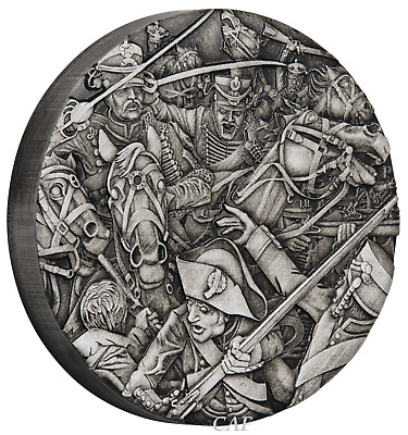 WARFARE – HUSSARS 2018 2oz Silver Antique HIGH RELIEF RIMLESS Coin 3D VIEW Final