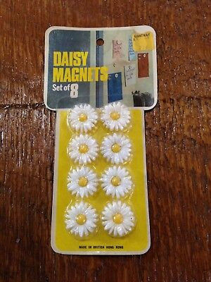 Vintage 70s Daisy Fridge Magnets NOS made in British Hong Kong FREE SHIPPING