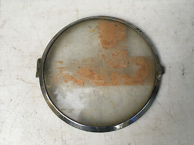 Vintage Chrome Clock Bezel with Partial Hinge and Glass for Parts Repair ML175