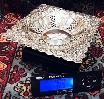 EGYPTIAN/EGYPT SOLID SILVER 900 ARABIC 20TH VINTAGE FRUIT BOWL 400 Grams