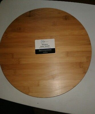 Lazy Susan Bamboo Turntable Rotates Smoothly Kitchen Table Top Durable Server